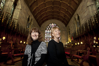 Pictured is Carys Wynne Williams and Ann Atkinson at St Asaph Cathedral.