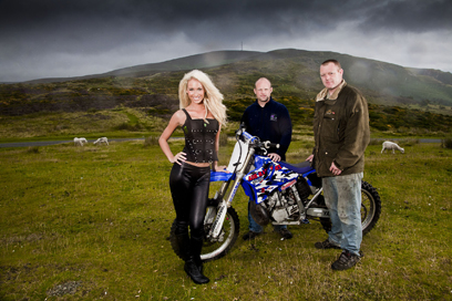 Lauren Knowles with Nick Critchley and Paul Davies at the Horeshoe Pass near Llangollen