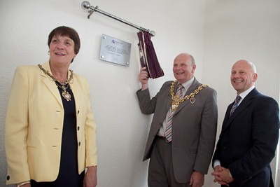 Hillbury The opening of the new dementia unit . Pictured from left is Mayoress Mrs Hilary Roberts, The Mayor of Wrexham Cllr Ian Roberts and Priprietor of Pendine Park Mario Kreft during the official opening.