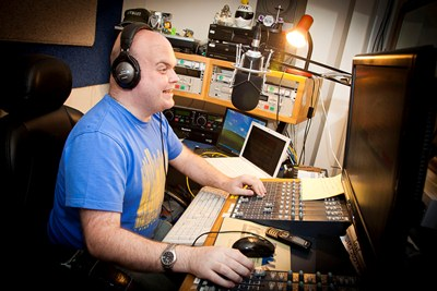COLEG HARLECH.  music technology course success story. Pictured is Craig Kennealey live on air during his show with Point FM Radio, Rhyl.