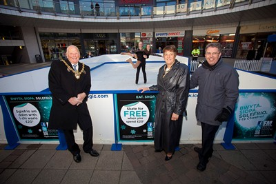 Opening of ice rink at Eagles Meadow Wrexham. Pictured is the Lord Mayor of Wrexham Ian Roberts the Mayoress Hillary Roberts, Centre Manager Kevin Critchley and ice skaters Tom Gregory and Cara McGovern.