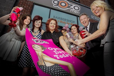Eagles Meadow, GOZO Men launch their Womens Beauty business. Kevin Critchley Eagles Meadow centre Manager enjoys a coctail  at the launch of GOZO'S Womens Beauty Business. pictured is Chloe Sudlow, Hazel Rogers, Laura Owen Beauty therapist, Katie Hughes, Tara Davies, Kevin Critchley and Sharon Hughes.